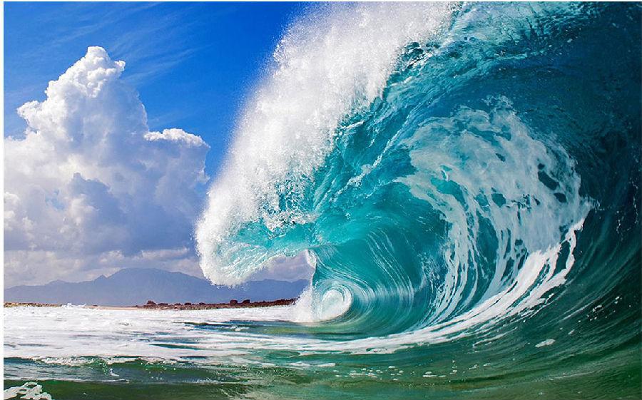 海浪卷手绘图片