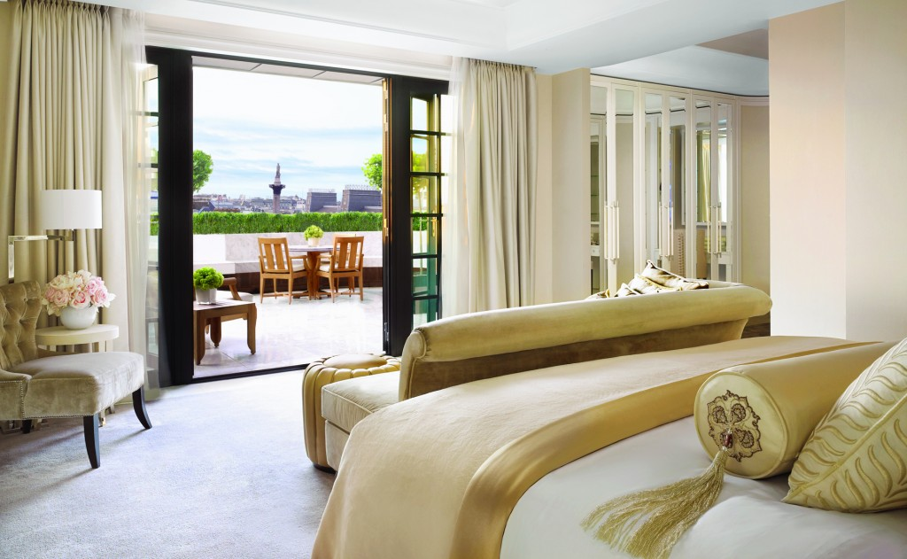 Hamilton Penthouse Bedroom, Terrace & Nelson's Column (landscape) Corinthia Hotel London