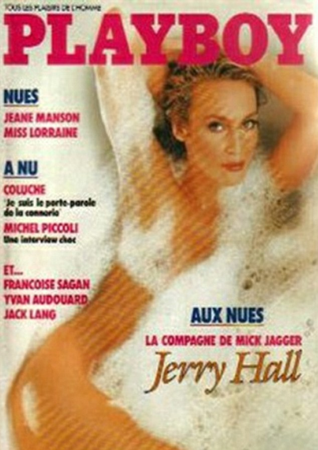 jerry hall on cover of french playboy oct 1985