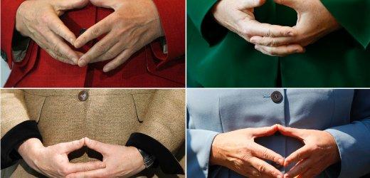 Combo photo of hands of German Chancellor Merkel