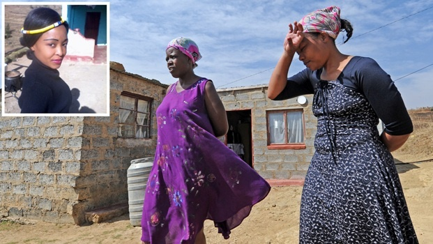"The family of Zanele Hlatshwayo, the alleged victim in the Estcourt ""cannibal"" case, stand outside their family home in Shayamoya just outside of Estcourt. (From left) Cousin, Nozipho Hlatshwayo and sister, Liziwe Hlatshwayo, recall the day Zanele went missing and the day they identified Zanele's torn and bloodied clothes at the Estcourt police station.Photo.Ian Carbutt"