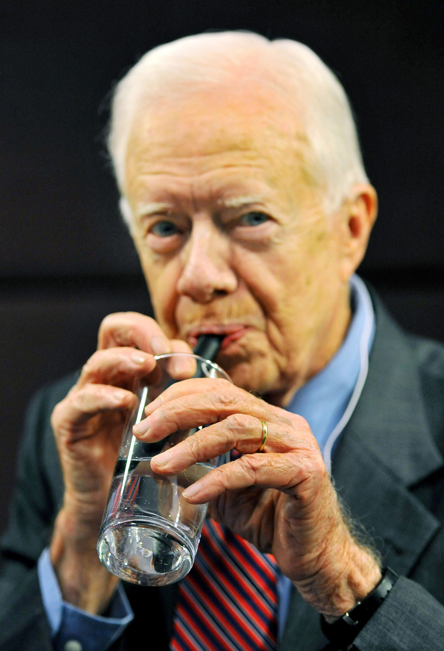 Former US President Jimmy Carter talks to the media during a press conference on the worldwide eradication of the water borne Guinea Worm disease from some of the Worlds poorest countries, at the Royal Commonwealth Society in central London. (Photo by John Stillwell/PA Images via Getty Images)