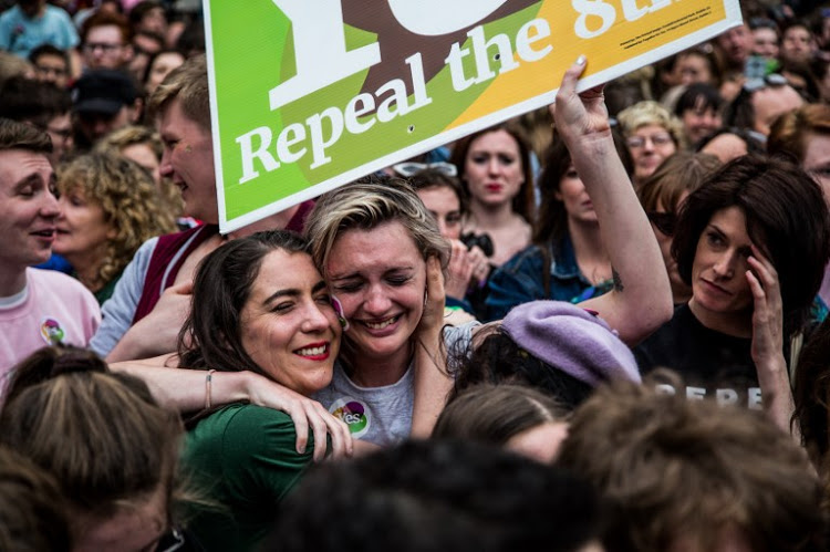 "Pro-Choice supporters celebrate as the results are announced to Repeal the 8th Amendmend and legalize abortion in Ireland(James Forde for AFP-mAY 26TH) (Photo credit should read ""James Forde/Center for Reproductive Rights/AFP-Services"")"