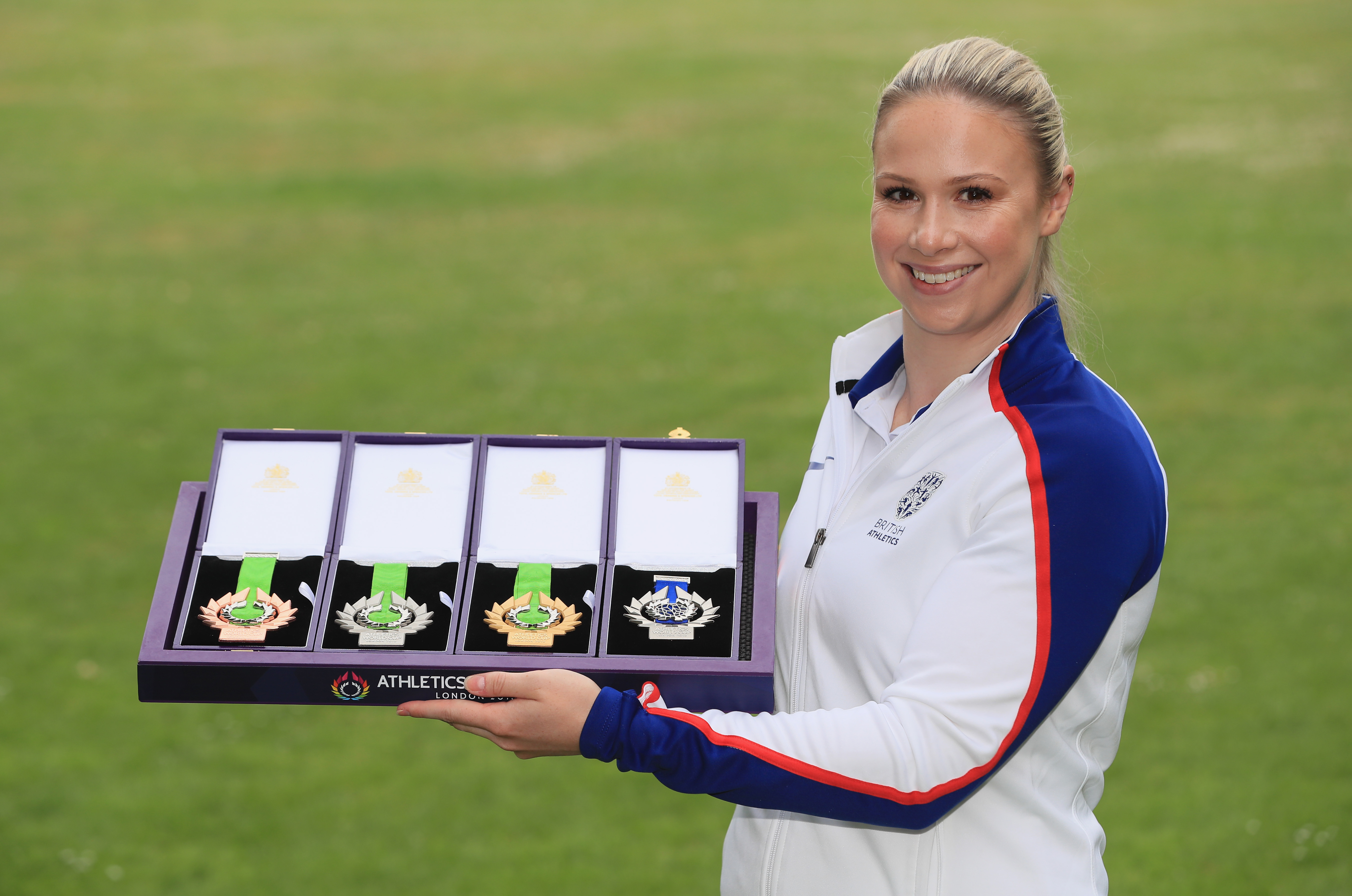 LONDON, ENGLAND - JUNE 20: Sophie Hitchon, Olympic hmmer bronze medallst, reveals the inaugural Athletics World Cup (14/15 July) medals at The Great Conservatory, Syon Park on June 20, 2018 in London, England. (Photo by Andrew Redington/Getty Images for British Athletics) *** Local Caption *** Sophie Hitchon