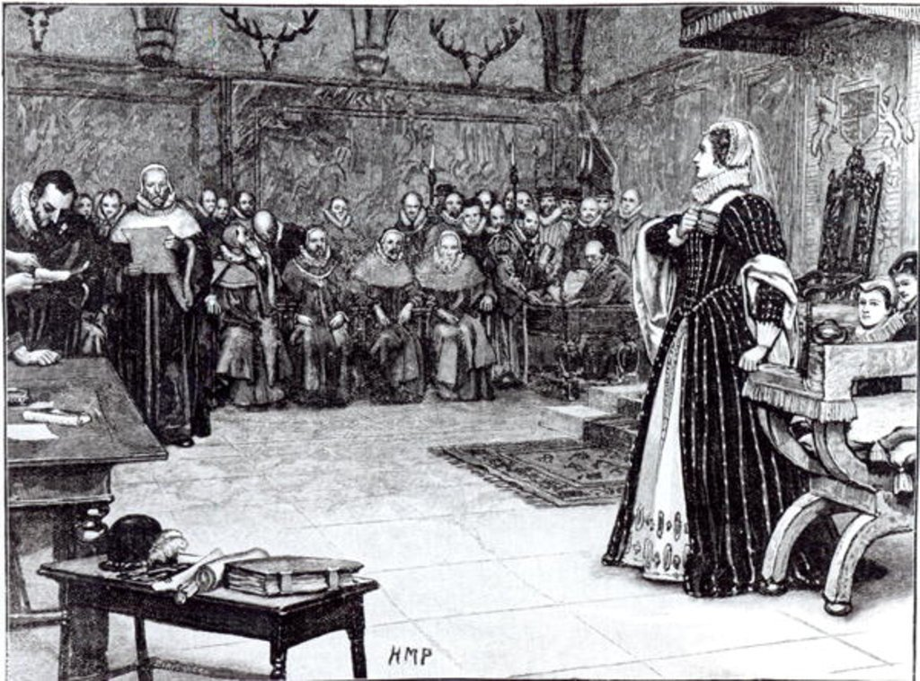 XJF138666 Trial of Mary Queen of Scots (1542-87) in Fotheringhay Castle (engraving) (b/w photo) by Berveiller, Edouard (fl.1874-75) (after); Private Collection; (add.info.: charged with being an accomplice in Babington's plot;); French, out of copyright
