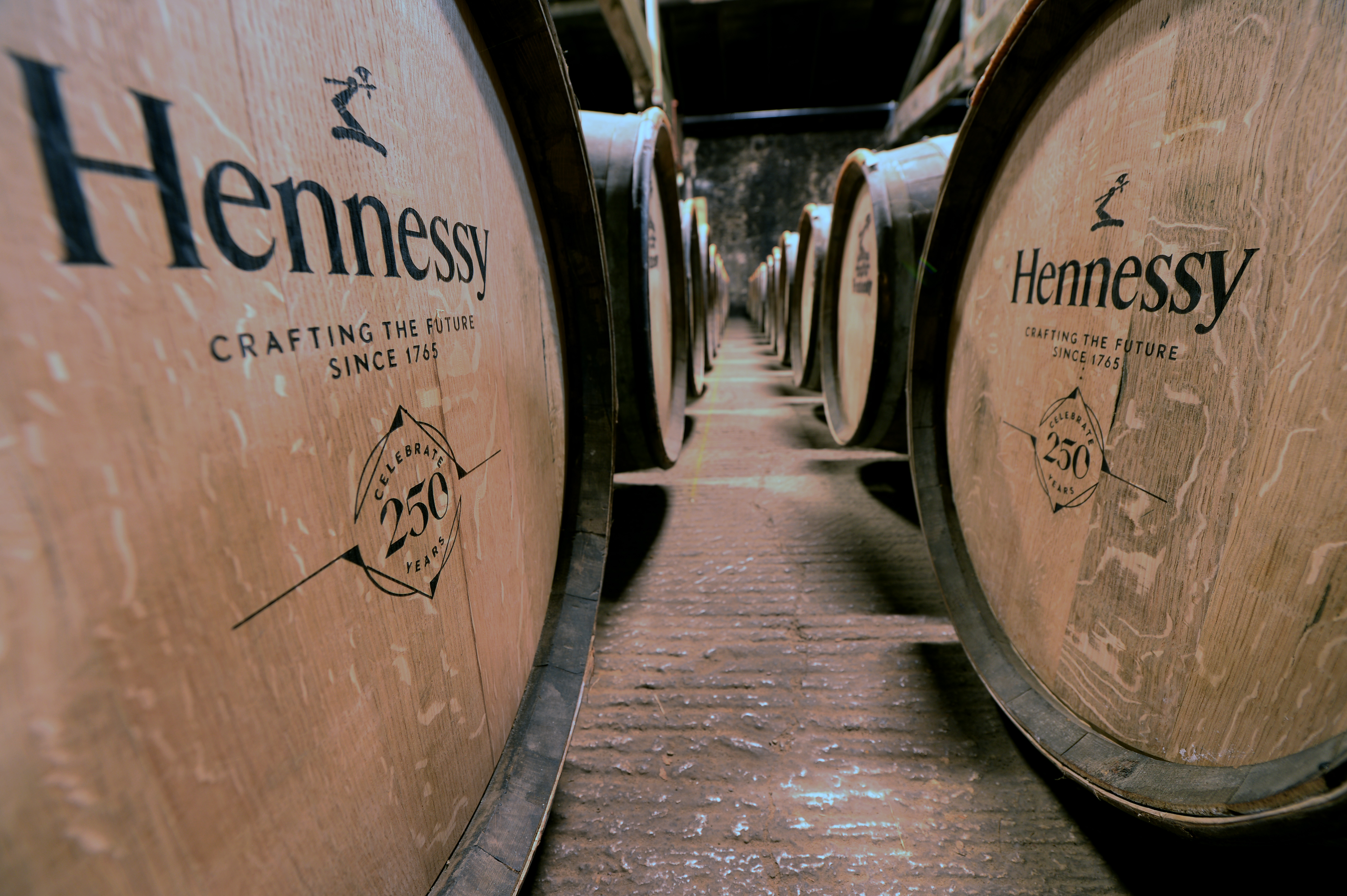 CELLAR WITH H250 BLEND BARRELS.