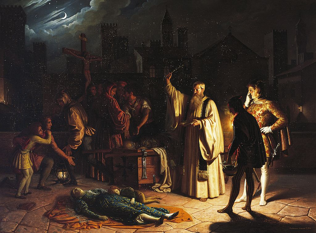 ITALY - CIRCA 2003: Scene of the plague in Florence in 1348 described by Boccaccio, by Baldassarre Calamai (1787-1851), oil on canvas, 95x126 cm. Italy. Florence, Palazzo Pitti (Pitti Palace) Galleria D'Arte Moderna (Gallery Of Modern Art) (Photo by DeAgostini/Getty Images)