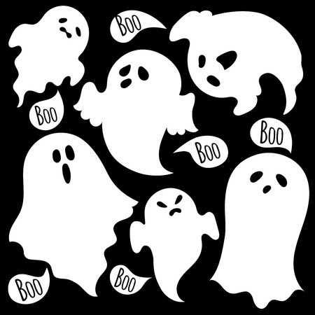 39537093-白い背景に不気味な幽霊のセット。