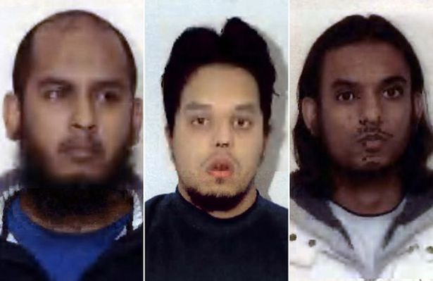 Undated handout photo issued by West Midlands Police of Shah Rahman, Mohibur Rahman, and Mohammed Chowdhury who have admitted various terror charges at Woolwich Crown Court