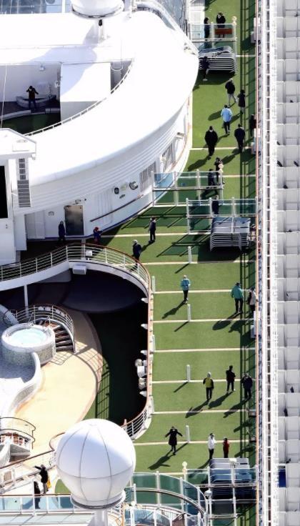 クルーズ船「ダイヤモンド・プリンセス」のデッキに出て過ごす人たち。ほとんどの人がマスクをしている(7日午前、横浜市鶴見区で、読売ヘリから).jpg